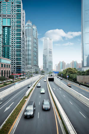 traffic building: traffic in shanghai financial center district Stock Photo