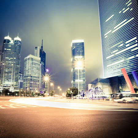 light traces: night view of the century avenue in shanghai,China