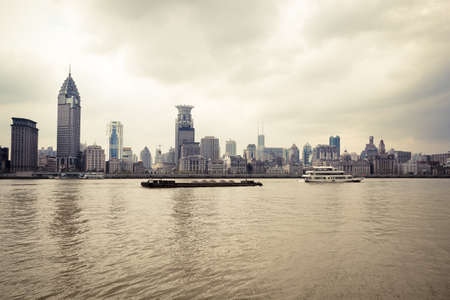 cityscape of huangpu river and the the bund in shanghai,China photo