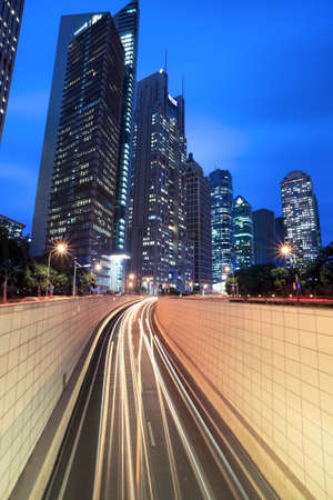 pudong district: modern building background and tunnel entrance in shanghai at night
