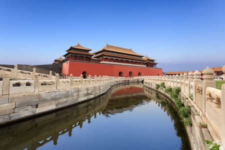 the forbidden city ,the golden water bridge against a blue sky in beijing,China
