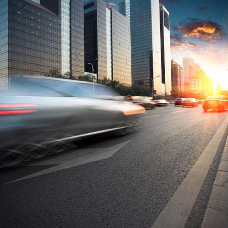 city traffic in dusk at modern street Stock Photo - 12176222