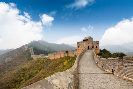 wall clouds: the great wall of china with a blue sky background