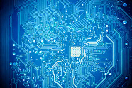 information technology industry: blue circuit board as abstract technology background Stock Photo