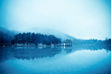 rainwater: winter lake landscape,rainwater and frozen lake