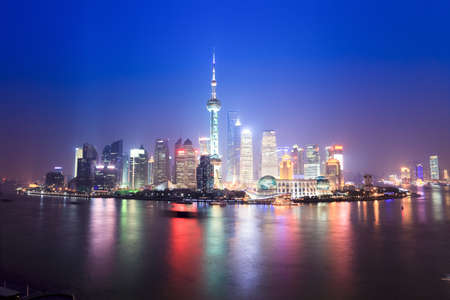 night scenery: beautiful night scenery of shanghai skyline,China