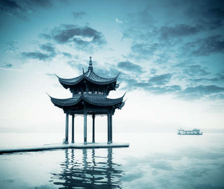 pavilion: ancient pavilion on the west lake in hangzhou,China  Stock Photo