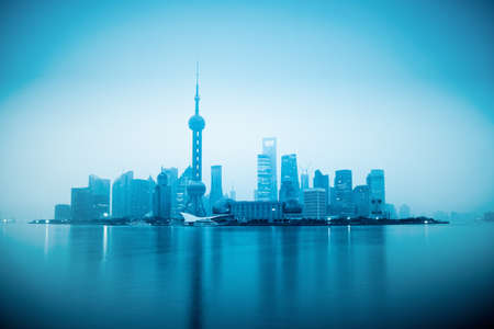 shanghai in sunrise with blue tone photo