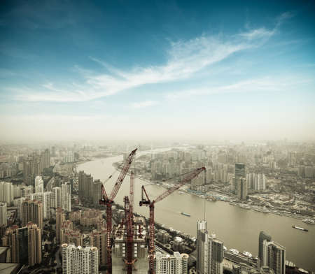 commercial construction: aerial view of development in shanghai Stock Photo