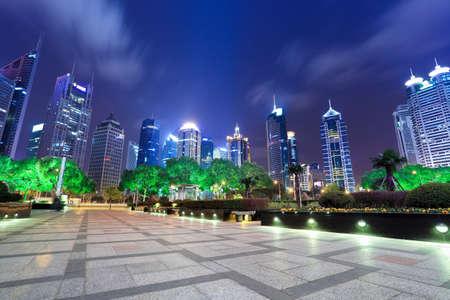 beautiful night scene in shanghai financial center photo