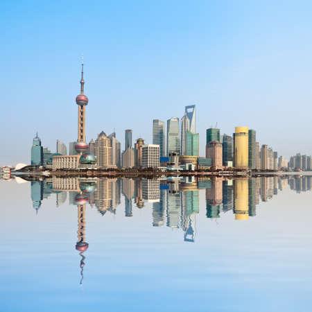 corporate travel: modern city skyline ,shanghai pudong, China