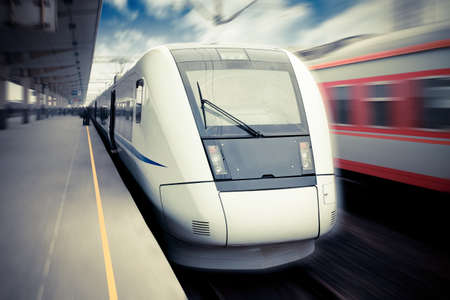 modern high speed train waiting for departure in railway station