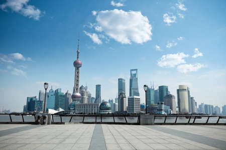 modern city,shanghai skyline in daytime