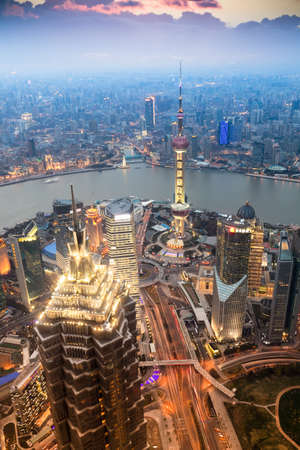 beautiful shanghai in the evening,aerial view from world financial center