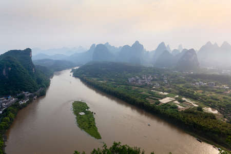 guilin: aerial view of li river at early morning in yangshuo county,China Stock Photo