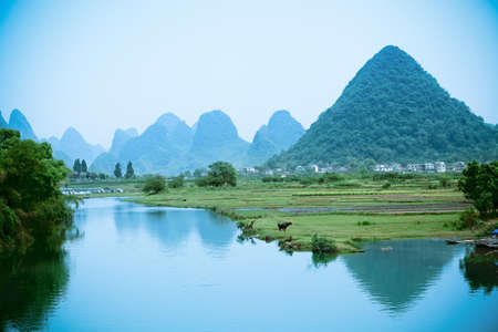 one pastoral scenery in yangshuo,China