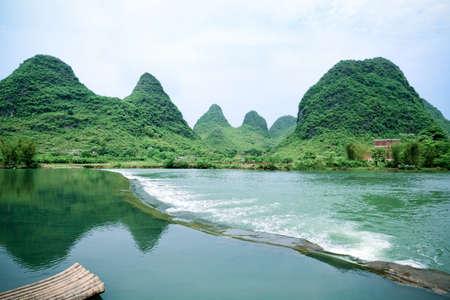 beautiful rural scenery in yangshuo yulong river,China photo