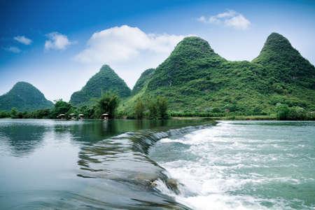 pastoral: beautiful pastoral scenery in yangshuo yulong river,China