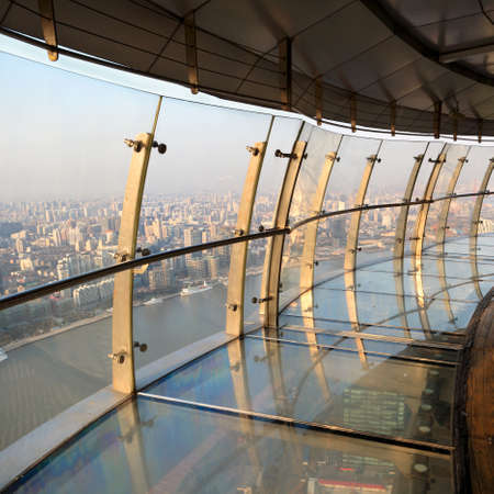 acrophobia: observatory in shanghai oriental pearl tv tower