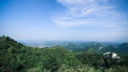 guilin hills,aerial view from the guilin city highest peak,China photo