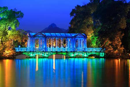 guilin: crystal glass bridge at dusk in guilin,China Stock Photo