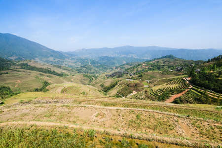 terracing: rice terraces and distant villages in the spring
