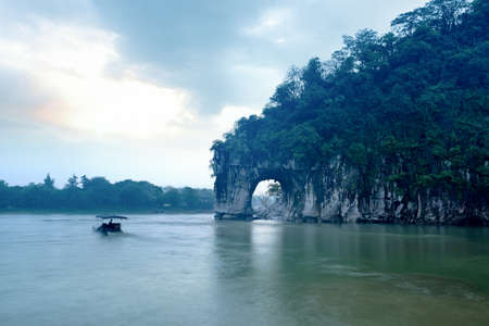 guilin: elephant trunk hill is a landmark and tourist attraction in guilin,China