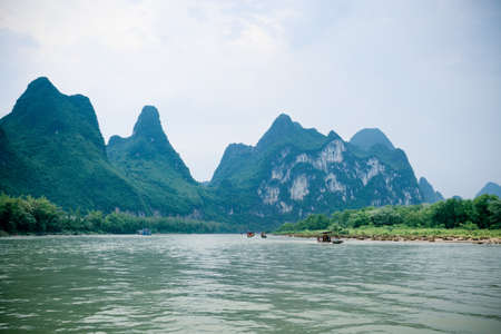 lijiang river scenery ,nine horses draw mountain in guilin, China photo