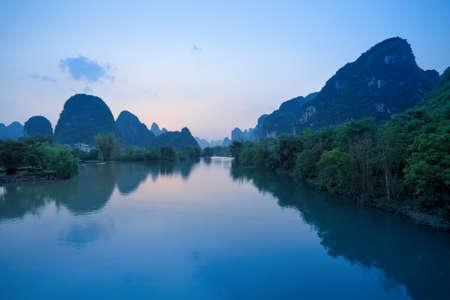 guilin: beautiful scenery of yangshuo at dusk in guilin, China