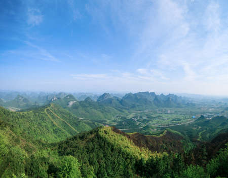 guilin scenery,panoramic view of yaoshan hill park,China