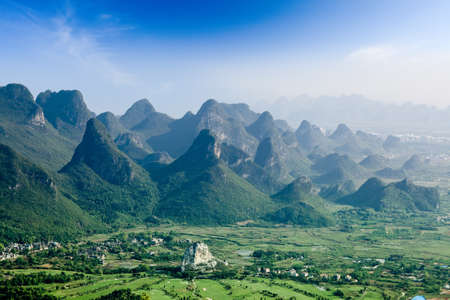 karst: beautiful karst mountain landscape in guilin yaoshan hill park,China Stock Photo