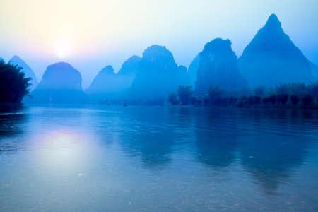 karst: beautiful karst mountain landscape at sunrise in yangshuo,guilin,China
