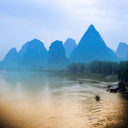 karst hills scenery in yangshuo,guilin, China photo