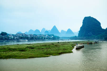 yangshuo scenery in the morning, a famous tourist destination in guilin,China photo