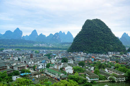 overlooking the yangshuo county town,beautiful karst mountain landscape in guilin, China Stock Photo - 13591890