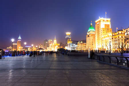 shanghai bund at night ,a famous place , the buildings here are all very old with great history  photo