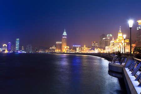shanghai bund and the huangpu river at night photo