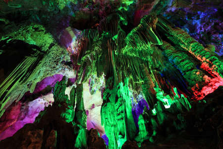 stalactites: beautiful stalactites in the silver cave , guilin,China Stock Photo