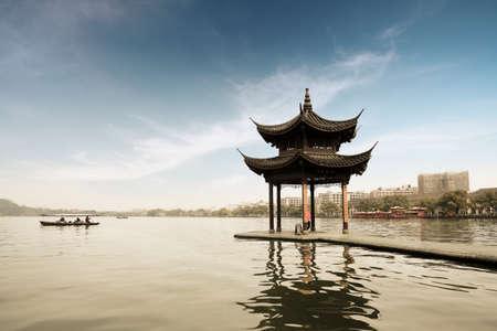china landscape: shady bower on the west lake in hangzhou,China