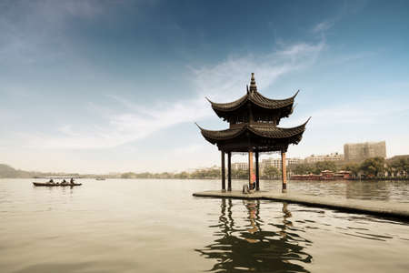 shady: shady bower on the west lake in hangzhou,China