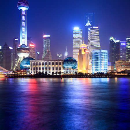 shanghai at night beside the huangpu river