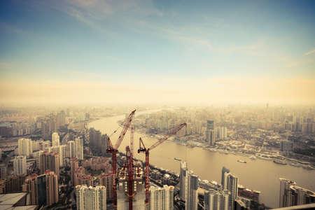 construction crane: development in shanghai,overlooking from jinmao building