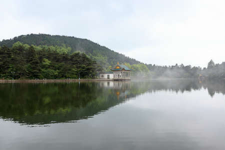 bower: shady bower on the lake in lushan,chinese famous tourist attraction