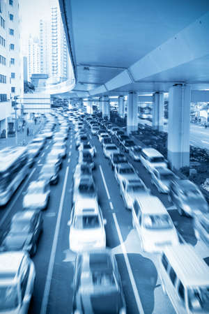 traffic rush hour under the viaduct in shanghai,China photo