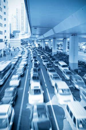 traffic rush hour under the viaduct in shanghai,China Stock Photo - 14198944