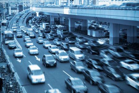 rush hour: traffic rush hour  in shanghai,China