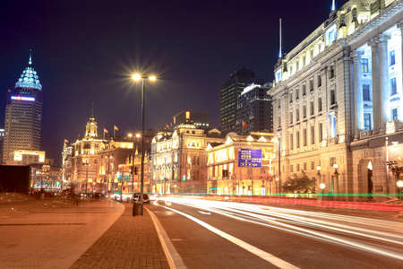 night shanghai bund,streetscape of old building with light trails
