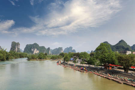 chinese karst mountain landscape in yangshuo,famous scenery of camel crossing the river photo