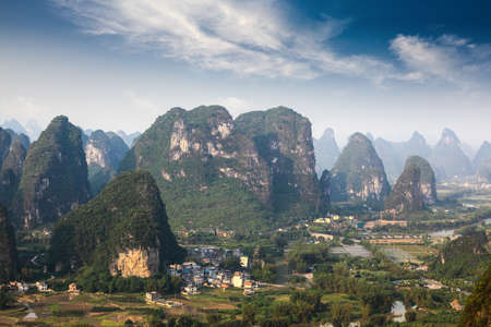 karst: beautiful karst mountain landscape in yangshuo ,moon hill park,China