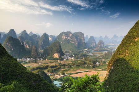 karst: beautiful karst mountain landscape in guilin ,aerial view from yangshuo moon hill Stock Photo